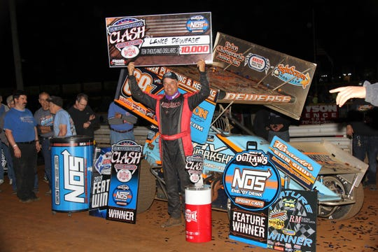 Lance Dewease celebrates after winning Wednesday's Gettysburg Clash at Lincoln Speedway.