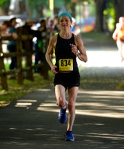 Jaci Schuerholz of Baltimore, MD, completes the annual York Marathon 3:10:13.96 to earn the top female spot, Sunday, May 19, 2019. 