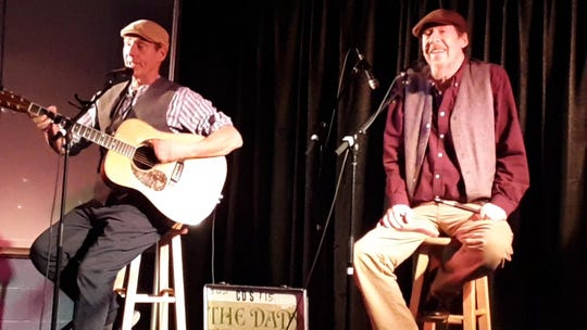 Joe Dady, right, performing with his brother John on Dec. 31, 2018 in Perry, one of their last public performances.