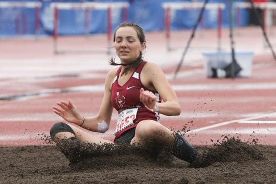 Perrydale's Amity Deters competes in the 1A girls triple jump during the OSAA 1A/2A State Track and Field Meet at Western Oregon University on Saturday, May 18.