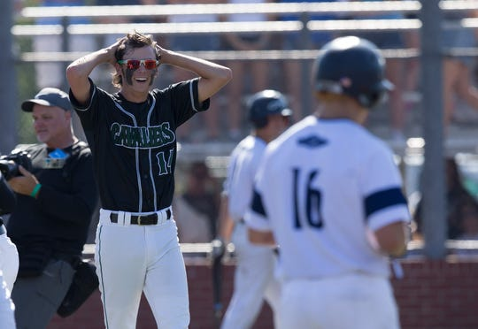 Calvary's Brennan Barber reacts to the final out of the Cavaliers state baseball victory last week in Sulphur.