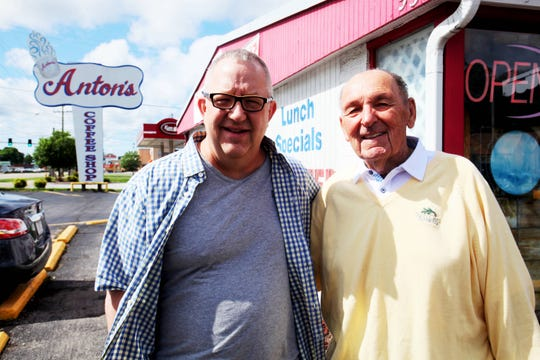 Joe Bauer stands with Anton Tasich, owner of Anton's Coffee Shop, Sunday, May 19, 2019, at 937 S. Glenstone Ave.