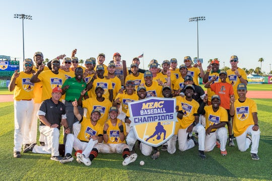 FAMU baseball players pose for a team photo after winning the 2019 MEAC baseball title. The Rattlers defeated Norfolk State 5-4 and 8-1 at Jackie Robinson Ballpark on Saturday, May 18 in Daytona Beach.