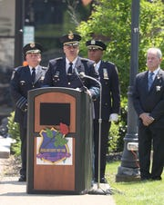 Rockland County Sheriff Louis Falco, III spoke during the annual Law Enforcement Memorial Service in front of the Rockland County Courthouse in New City May 19, 2019. The ceremony honors members of law enforcement from Rockland County who died in the line of duty.