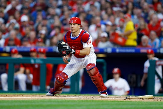 Phillies' J.T. Realmuto during a game against the Milwaukee Brewers, Wednesday, May 15 in Philadelphia.