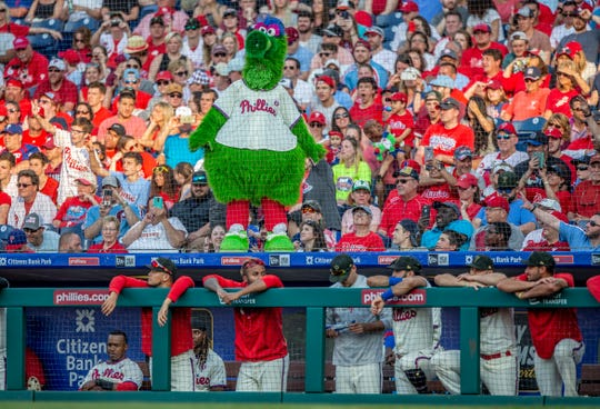 The Phillie Phanatic during a baseball game against between the Philadelphia Phillies and the Colorado Rockies, Saturday, May 18, 2019, in Philadelphia.