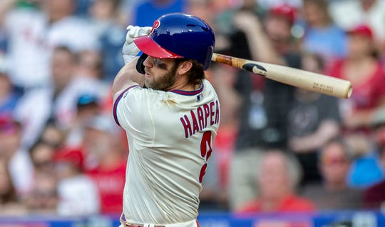 Philadelphia Phillies' Bryce Harper (3) in action during a baseball game against the Colorado Rockies, Saturday, May 18, 2019, in Philadelphia.