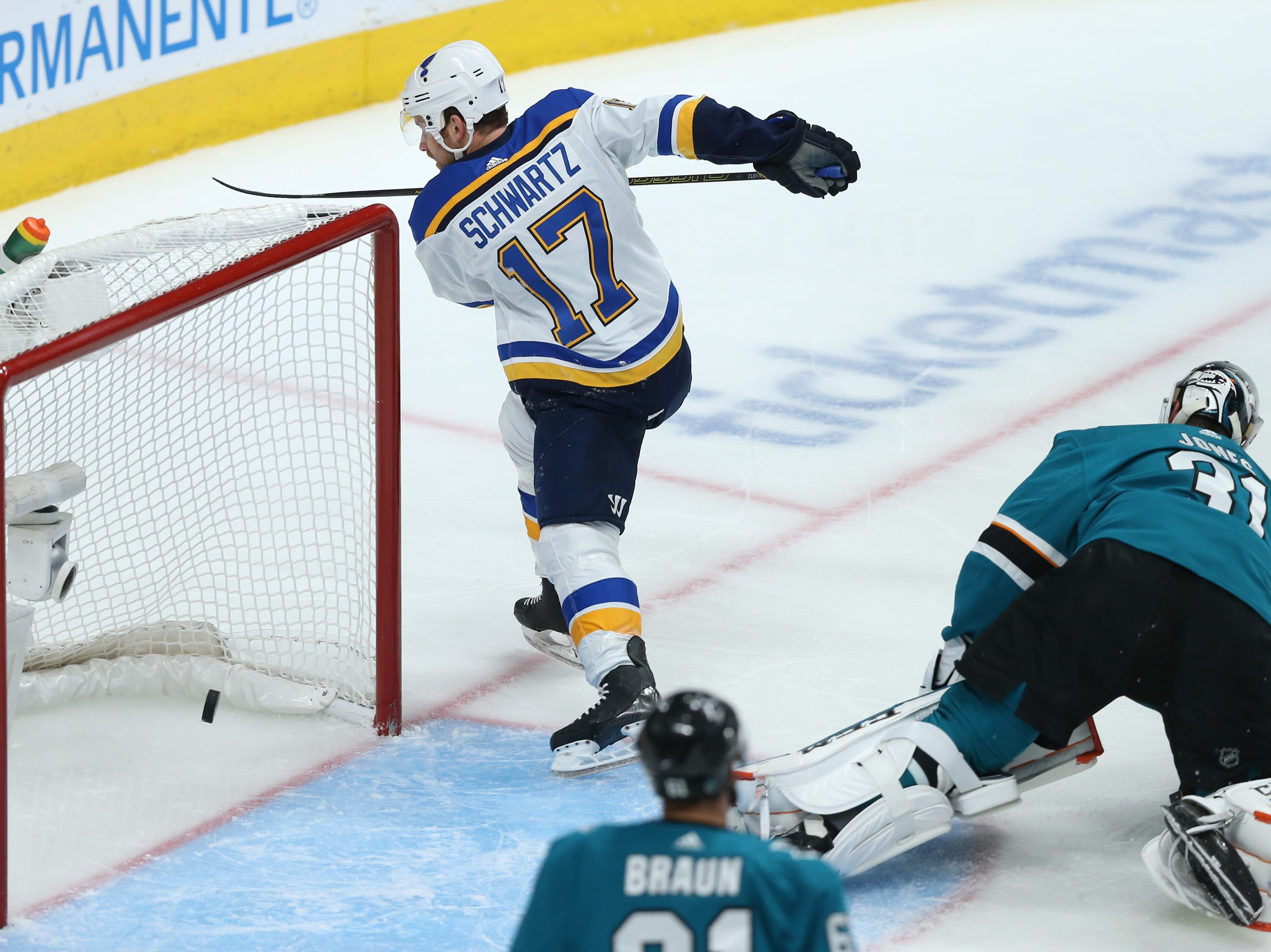 Conference finals: St. Louis Blues forward Jaden Schwartz scores a goal during the second period of the Game 5 win against the San Jose Sharks.