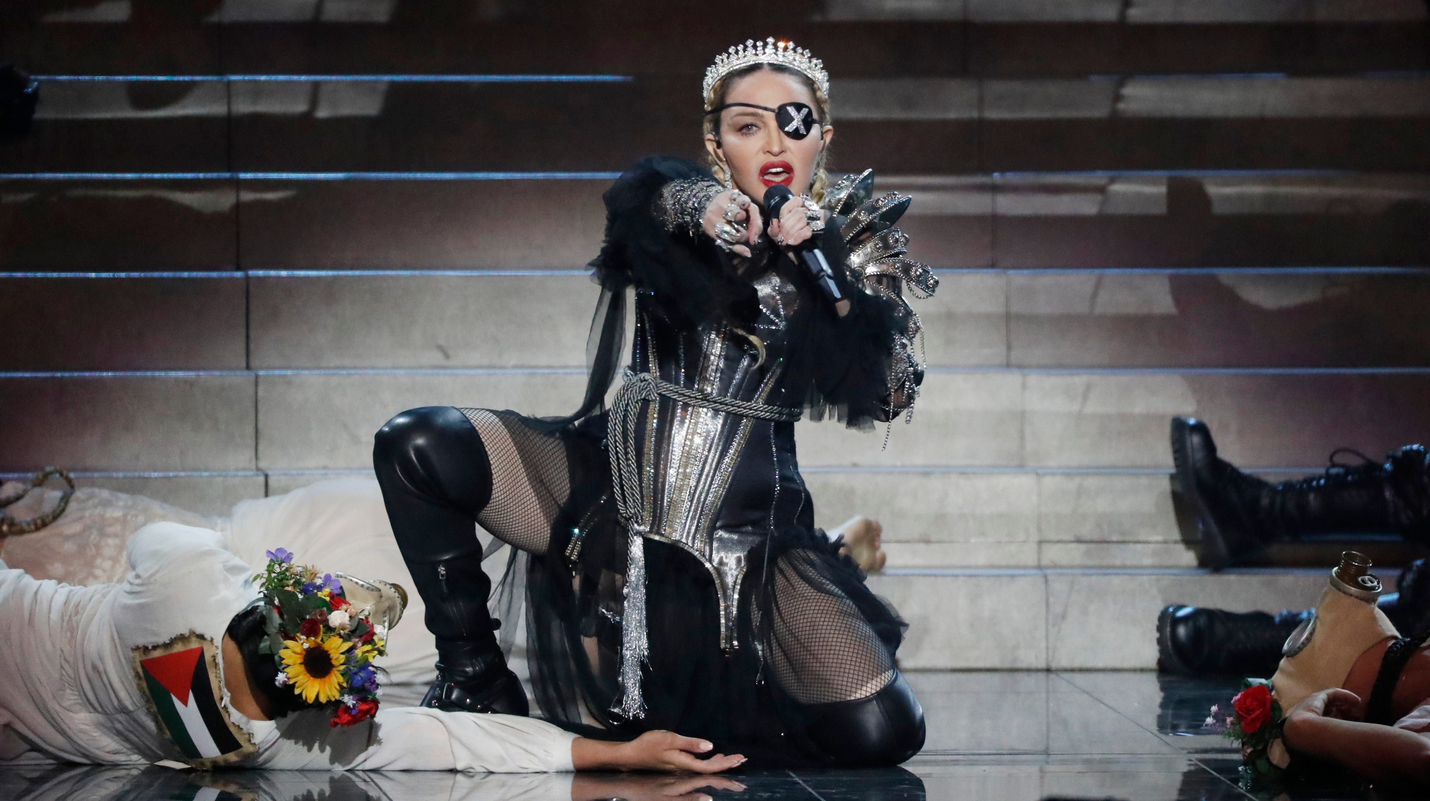 Madonna sparks controversy at 'non-political' Eurovision with her flag display - USA TODAY