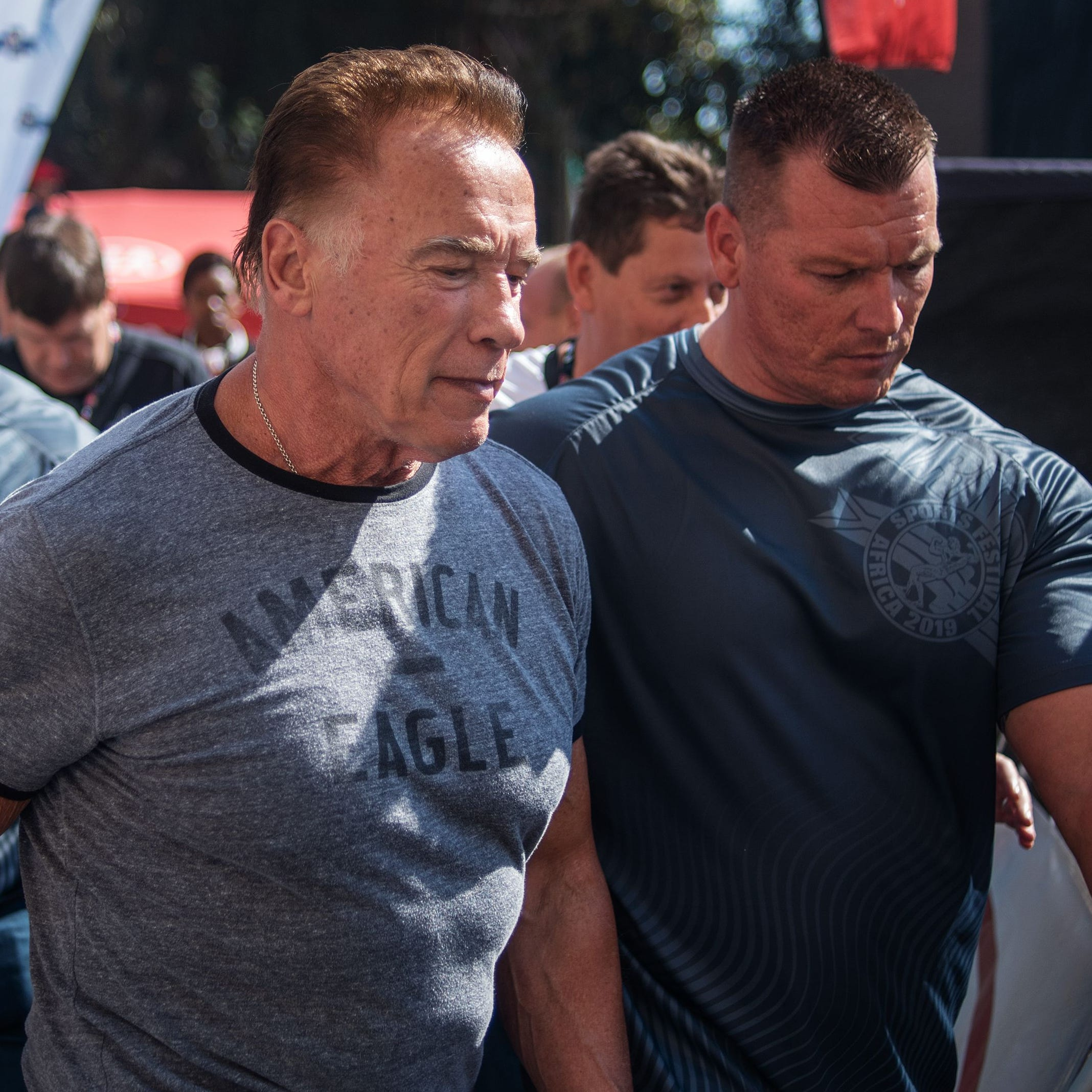 Arnold Schwarzenegger is seen at the Arnold Classic Africa, a multi-sport festival held at the Sandton Convention Centre on May 18, 2019, in Johannesburg, South Africa.