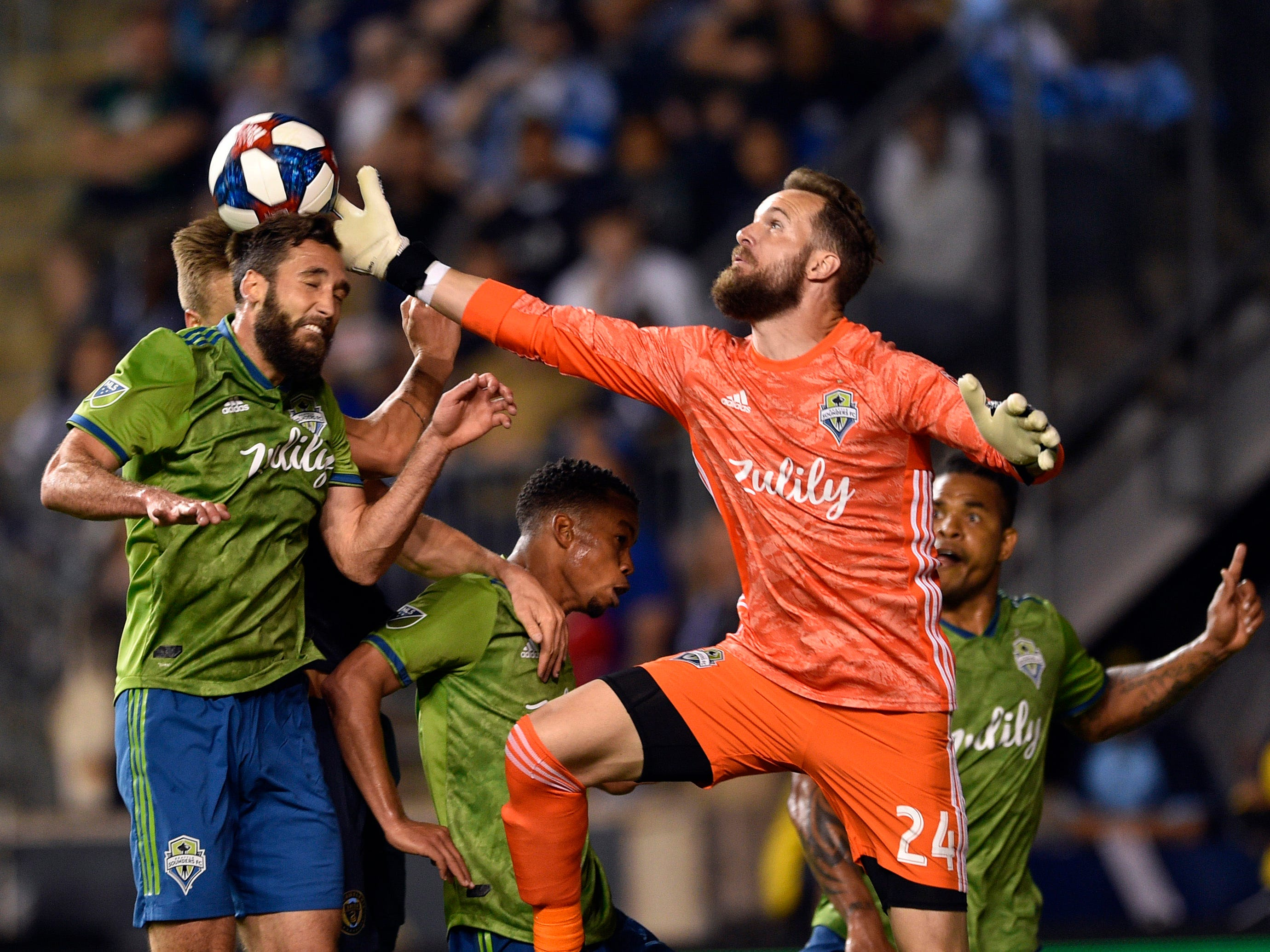 May 18: Seattle Sounders goalkeeper Stefan Frei reaches to make a save as Jonathan Campbell defends the shot during the second half against the Philadelphia Union at Talen Energy Stadium.