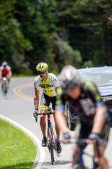 Cyclists make the final ascent in the 102.7-mile Assault on Mt. Mitchell May 20, 2019.