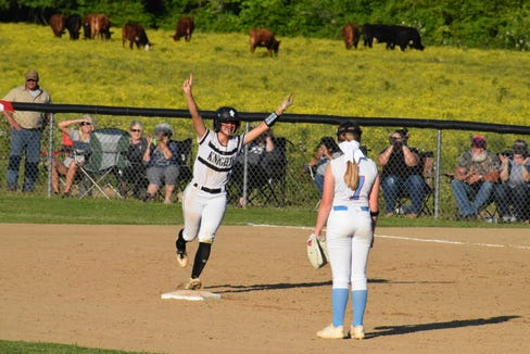 Abigail Knight celebrates after a home run during an 11-3 win over North Stanly on May 17.