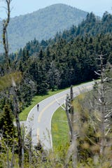 Cyclists make the final ascent in the 102.7-mile Assault on Mount Mitchell May 20, 2019.