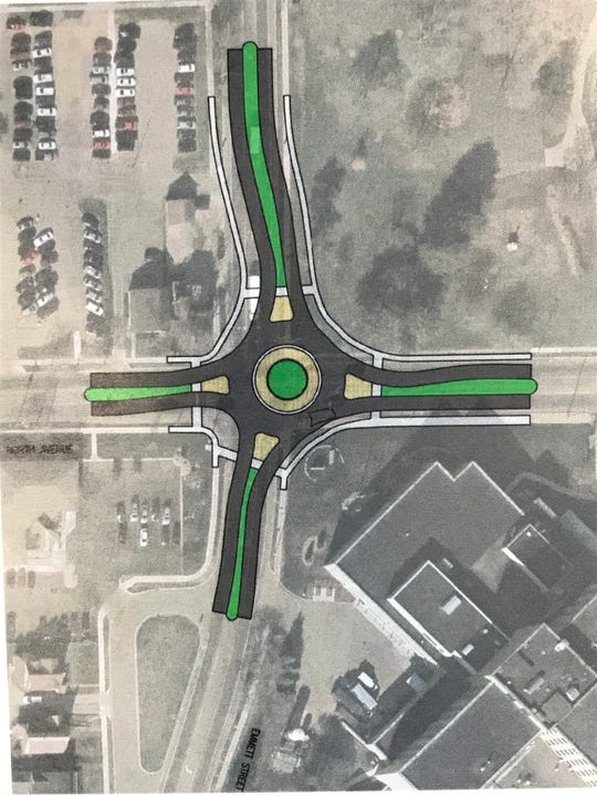 City of Battle Creek officials are applying for grants to move forward with a roundabout project at the intersection of North Avenue and Emmett Street near Bronson Battle Creek Hospital.