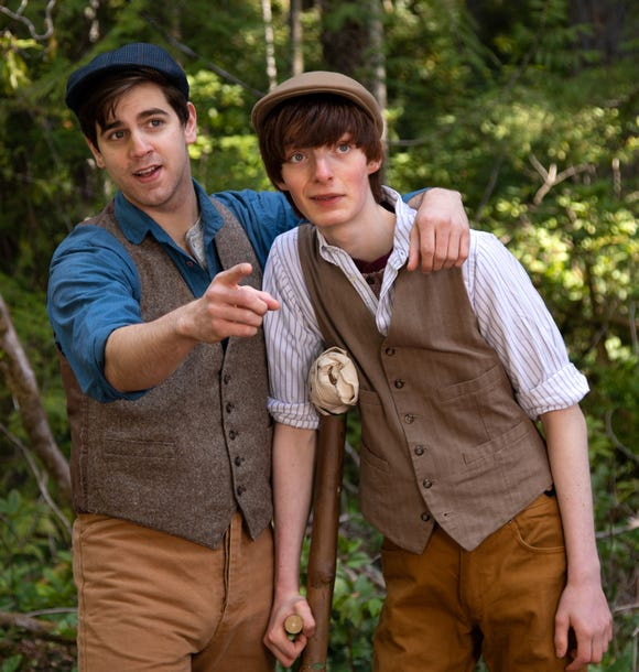 "Jack (Trevor Burden, left) and Crutchie (Oliver Girouard) in the Mountaineers Players' ""Newsies,"" which opens May 26 at the Kitsap Forest Theater."