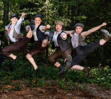 A quartet of Newsies (from left, Alexandra Kunin, Stefanie Van Rafelghem, Olivia Ingram, Anna Vizzare) get airborne.