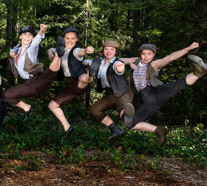 A quartet of Newsies (from left, Alexandra Kunin, Stefanie Van Rafelghem, Olivia Ingram, Anna Vizzare) get airborne.