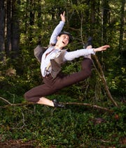 "Finch (Alexandra Kunin) busted a trademark ""Newsies"" move in the Mountaineers Players' production at Kitsap Forest Theater."