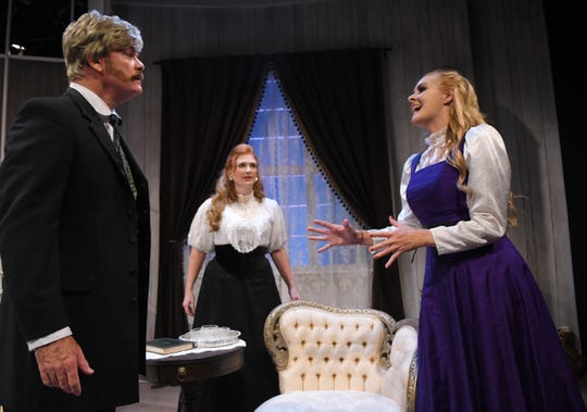 "Rob Kenna as Eilert Lovborg, Christina LaFortune as Hedda and Mary Carson Meyer as Mrs. Elvsted in a scene from ""Hedda Gabler."" The drama will be performed at Melbourne Civic Theatre from May 24 to June 30, 2019.  For tickets, call 321-723-6935, or visit www.myMCT.org."