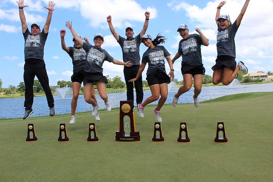 Florida Tech's women's golf team celebrates its NCAA Division II title.