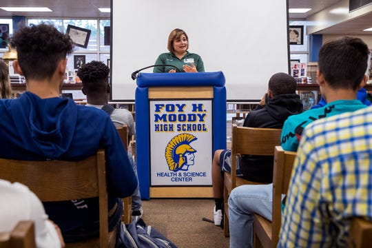 Judge Inna Klein of the 214th District Court speaks with students at Moody High School about domestic violence on Monday, May 20, 2019. Over three days, Klein worked to educate students on what constitutes domestic violence, possible punishment, statistics on children who grow up around it and what to do when they see it as well as available resources.