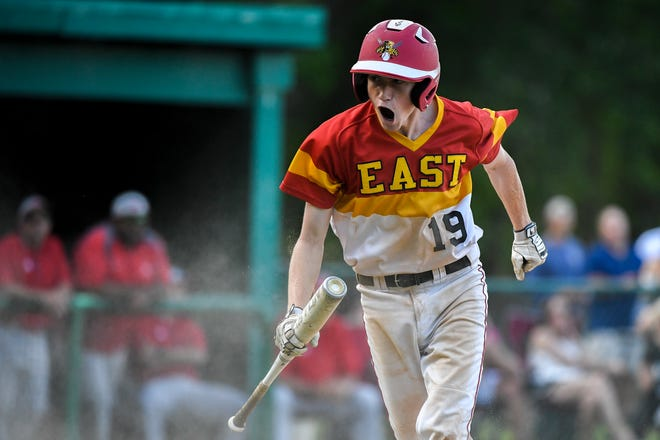 East's Dan Zimba (19) celebrates a run against Lenape in the opening round of the South Jersey Group 4 playoffs Monday, May 20, 2019 in Cherry Hill, N.J. East won 7-2.
