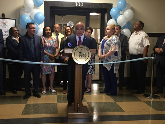 Camden Mayor Frank Moran talks about the new Office of Constituent Services on the third floor of City Hall.