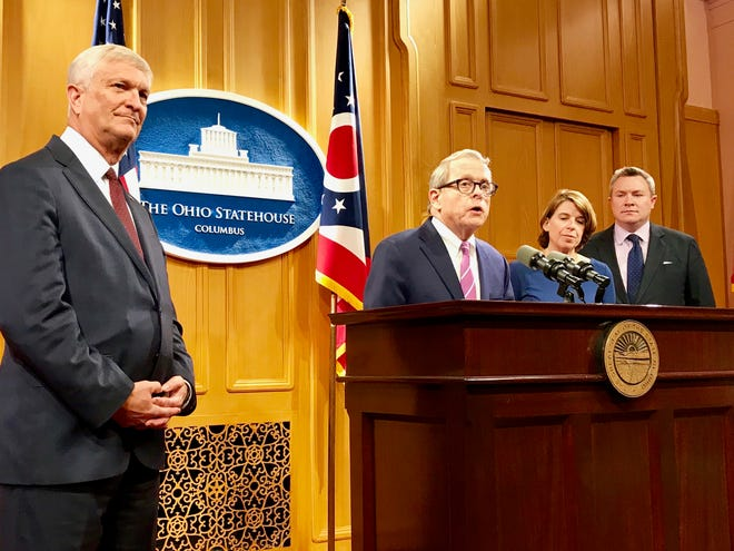 Ohio Gov. Mike DeWine called for ending Ohio's statute of limitations for rape and possibly other sex crimes during a press conference on May 20, 2019.