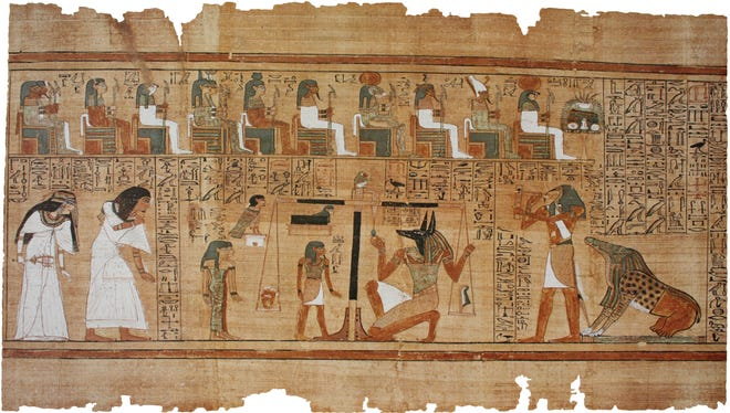 During judgment, the dead's heart is weighed against a feather representing Maat, an Egyptian idea having to do with truth and balance.