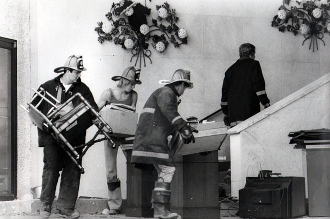 MAY 31, 1977: Beverly Hills Supper Club fire Firefighters salvage what they can from the remains of the Beverly Hills Supper Club fire.