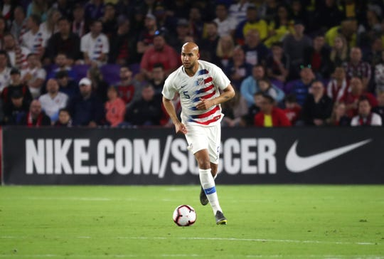 United States defender John Brooks (5) dribbles the ball during second half of an international friendly soccer match at Orlando City Stadium.