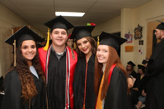 Haley Hale, Charlie Nazarenko, Faith Nagengast and Shelby Nolin at Stewart County High School's Class of 2019 graduation ceremony on Sunday, May 19, 2019.