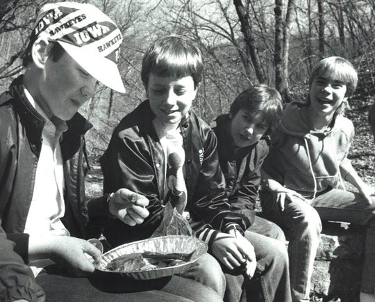 From 1985: From left, Benjamin Rottler, Jeff Nelson, Danny Packard and Tim Peters were among 80 kids from Des Moines to attend an overnight retreat at the Des Moines YMCA camp near Boone.