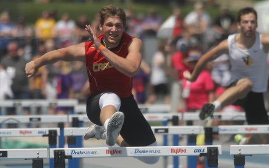 Carlisle sophomore Karson Dunn runs the second leg of the Class 3A 4x110-meter shuttle hurdle team. The Wildcats finished first in qualifying. The state high school track meet's first day of competition was held May 16 at Drake Stadium in Des Moines.