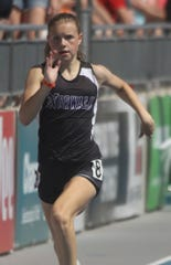 Norwalk freshman Raegan Levi competes in the 200-meter dash, finishing 21st in the preliminaries. The state high school track meet's first day of competition was held May 16 at Drake Stadium in Des Moines.
