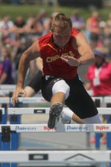 Carlisle senior Nolan Brunsen anchors the Class 3A 4x110-meter shuttle hurdle team to a first place in qualifying. The state high school track meet's first day of competition was held May 16 at Drake Stadium in Des Moines.