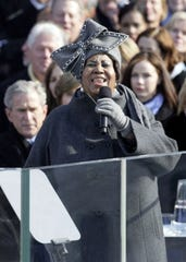 Aretha Franklin performs during the inauguration of Barack Obama as the 44th U.S. President at the U.S. Capitol in Washington, D.C., Tuesday, January 20, 2009. (Alex Wong/Pool/MCT)