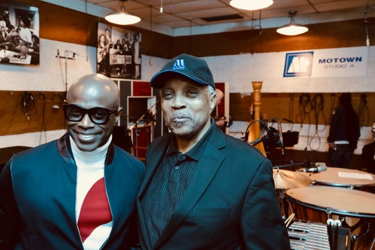 R&B singer-songwriter Kem (left) poses with Motown arranger Paul Riser in Studio A at the Motown Museum on Monday, May 21, 2019.