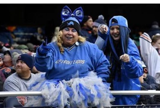 Lions superfan Tracy Sekula, 53, of Sterling Heights, wears her Lions-inspired tutu at home and away games, including at Chicago's Soldier Field.