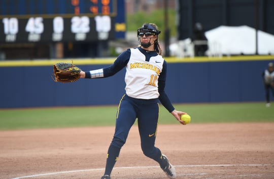 Michigan pitcher Meghan Beaubien throws during the NCAA regional game against James Madison on Monday, May, 20, 2019, in Ann Arbor.