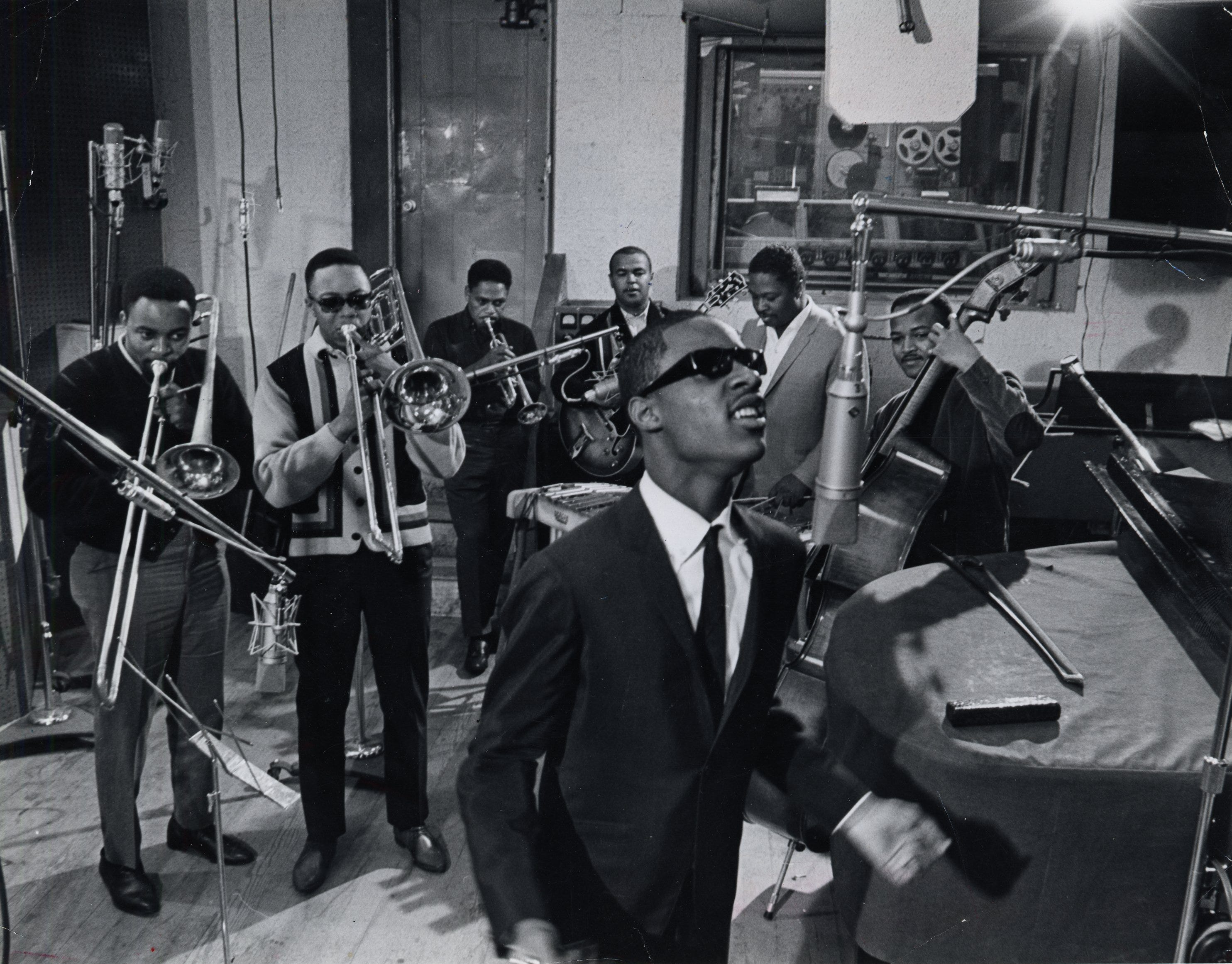 Stevie Wonder and members of the Funk Brothers, including Paul Riser (second from left), in Motown's Studio A in 1965.