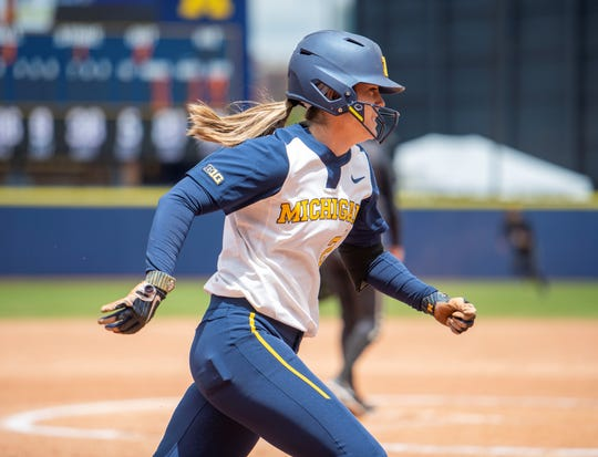 Michigan catcher Hannah Carson runs the bases during the NCAA regional against James Madison on Monday, may 20, 2019, in Ann Arbor.