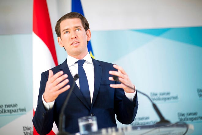 Austrian Chancellor Sebastian Kurz, of the Austrian People's Party, OEVP, addresses the media during a news conference in Vienna, Austria, Monday, May 20, 2019. Austrian Chancellor Sebastian Kurz has called for an early election after the resignation of his vice chancellor Heinz-Christian Strache from the Freedom Party spelled an end to his governing coalition.