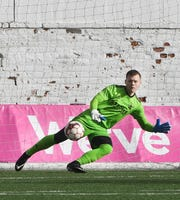 Detroit City FC goalie Nate Steinwascher made several key saves in a 1-0 loss to USL Championship side Indy Eleven Tuesday.