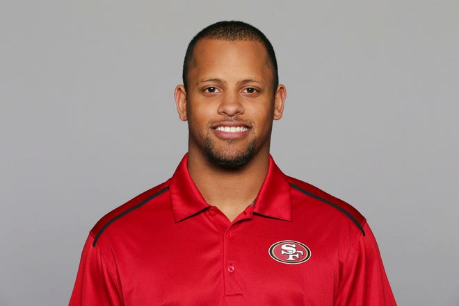 This 2016, file photo shows Keanon Lowe of the San Francisco 49ers NFL football team. Lowe, a former analyst for the 49ers and wide receiver at the University of Oregon, subdued a person with a gun who appeared on a Portland, Oregon high school campus Friday, May 17, 2019.