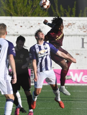Detroit City FC's Abdoulaye Diop, seen here in May when the clubs met at Keyworth,  had the winning goal in a 3-1 victory over Kalamazoo FC Saturday.