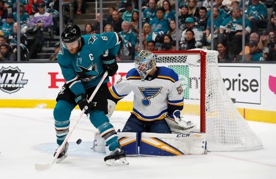 St. Louis Blues goaltender Jordan Binnington makes a save against San Jose's Joe Pavelski in Game 5.