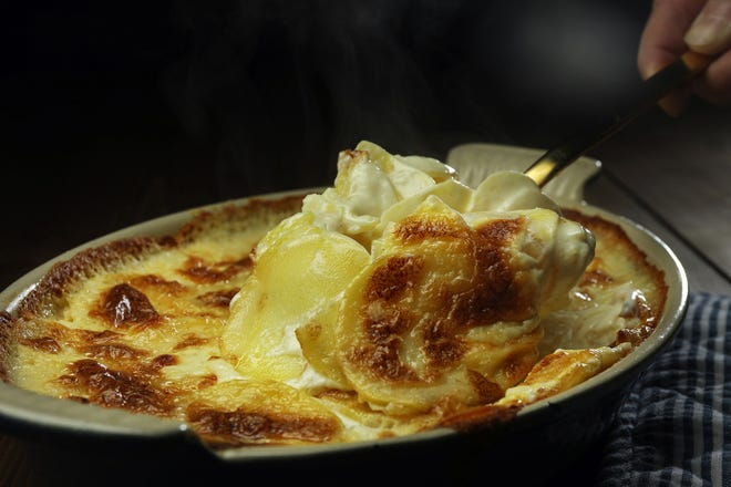 The ingredients for pommes dauphinoise come together on April 16, 2019.