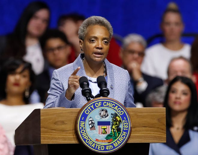 Chicago Mayor Lori Lightfoot speaks during her inauguration ceremony Monday in Chicago.